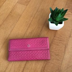 Coach Pink Tri Fold Leather Wallet